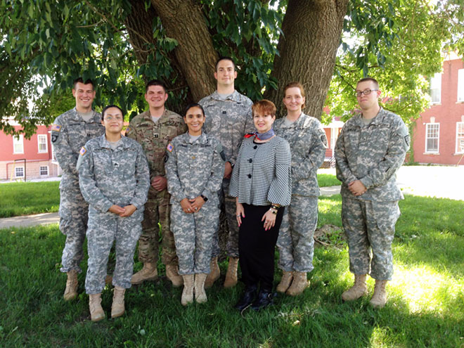 Kip Randall (fifth from left), a rising 2L, spent his summer working for the U.S. Army Trial Defense Service at Fort Leavenworth.