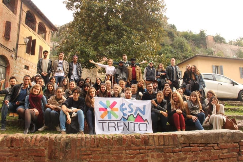 Student group with Trento sign.
