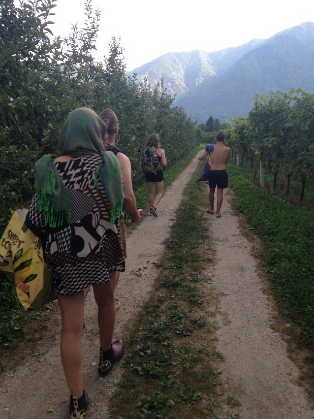 People walking on gravel roads through vineyards.