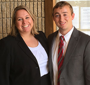 Claire Kebodeaux with partner Matt Smith before KU's in-house mock trial competition.