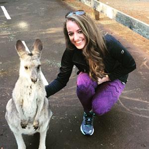 Cachet Hancock with a kangaroo