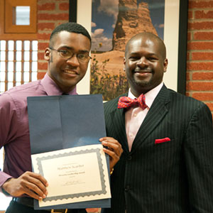 Scarber, left, was a student finalist for KU's inaugural Diversity Leadership Award.