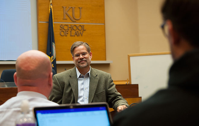 Kansas Supreme Court Justice Caleb Stegall teaching at KU Law