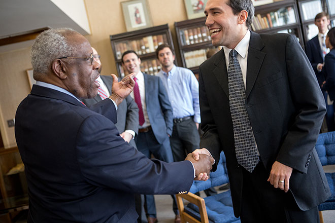 Sam LaRoque meets U.S. Supreme Court Justice Clarence Thomas