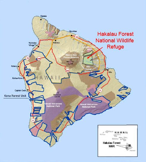 Map of the Hakalau Forest National Wildlife Refuge on the Island of Hawai'i.