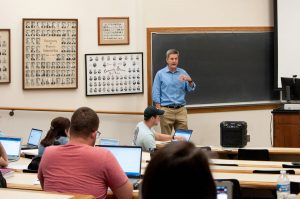Glenn Jewell, bar exam instructor, gives instructions before an afternoon session of a simulated bar exam.