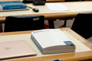 A bar exam study book on a desk in Green Hall