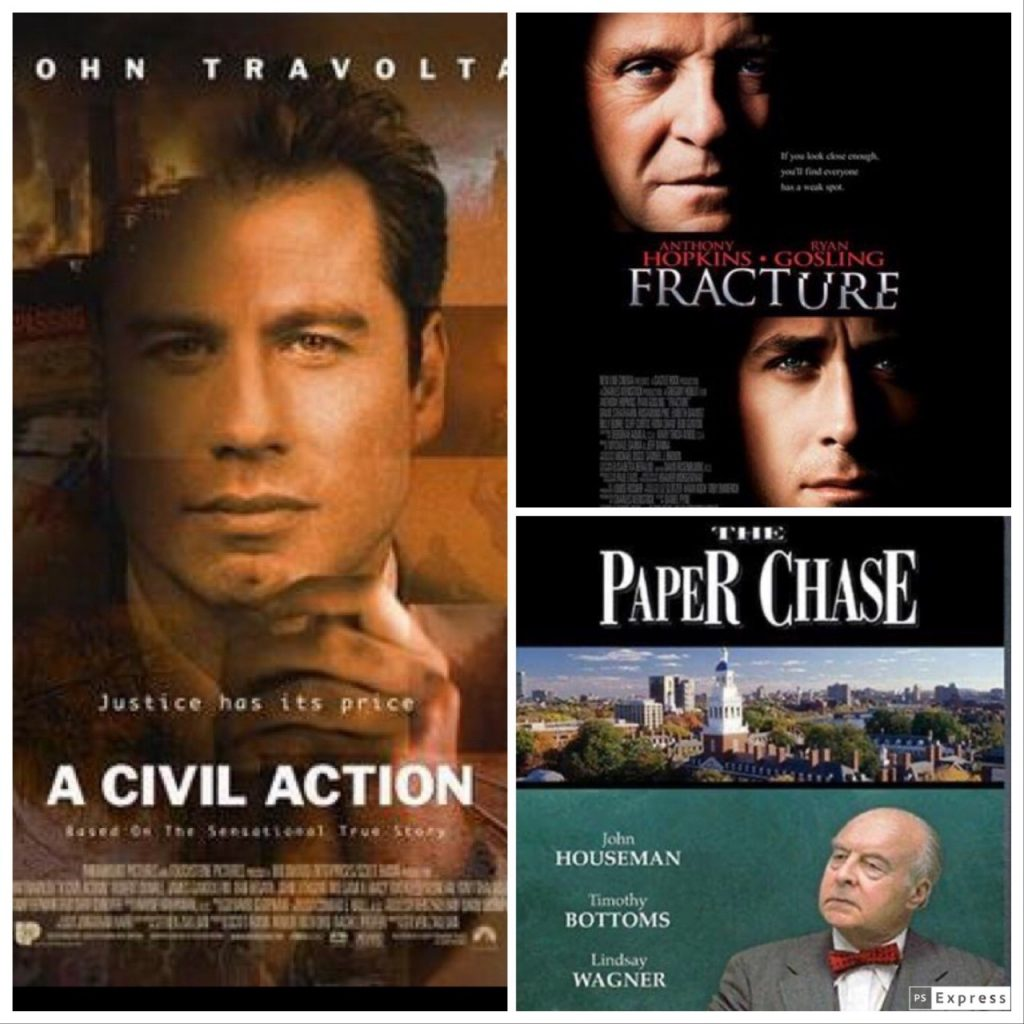 Collage of: A Civil Action, Fracture and The Paper Chase movie posters.